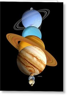 Solar System Planets Greeting Card by Victor Habbick Visions