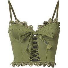 Fenty X Puma ruffled lace-up bustier (255.895 CLP) ❤ liked on Polyvore featuring tops, bustier, shirts, crop top, green, embroidered shirts, laced up shirt, lace up front top, green top and flutter-sleeve tops