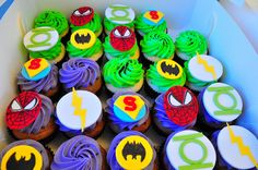 child birthday superhero theme | Superhero birthday cupcakes | Flickr - Photo Sharing!
