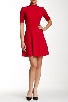 Mock Neck Flare Dress by Alexia Admor on @nordstrom_rack
