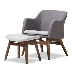 Wholesale Interiors Victoria Mid-Century Modern Lounge Chair and Ottoman