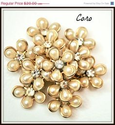 Coro signed Pearl and Rhinestone Flower Brooch