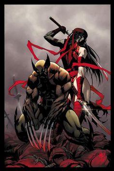 Elektra and Wolverine - Joe Mad