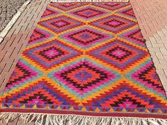 Diamond design Kilim rug, 123'' x 80'' Vintage Turkish rug, rugs, area rug, vintage rug, bohemian rug, eccentric rug, anatolian rug, rug,