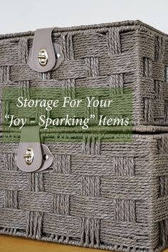 """If you are inspired by Marie Kondo, you will love this article. Check out our storage ideas for your """"joy-sparking"""" items. Lined Wicker Baskets, Wicker Baskets With Handles, Rattan Basket, Storage Trunk, Under Bed Storage, Storage Baskets With Lids, Storage Ideas, Neat And Tidy, Tidy Up"""