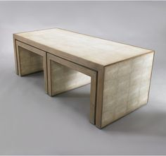 dwell studio avedon nesting coffee tables - faux shagreen wrapped recovered wood and hardwood