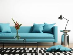Illustration about Modern interior with a blue turqoise sofa and striped rug in the living room. Illustration of architecture, lifestyles, sofa - 51827871 Turquoise Room, Bleu Turquoise, Interior Design Tips, Modern Interior, Design Ideas, Bleu Tiffany, Bleu Cyan, Striped Room, Retro Living Rooms