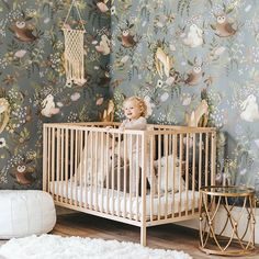 Discover the adorable floral design of the Oh Deer Wallpaper Mural from Project Nursery. This forest animal nursery wallpaper has friendly woodland critters. Hirsch Wallpaper, Deer Wallpaper, Rabbit Wallpaper, Forest Wallpaper, Magnolia Wallpaper, White Wallpaper, Animal Wallpaper, Nursery Room, Nursery Themes