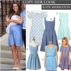 Kate Middleton in light blue polka dot dress - similar style dresses to copy her look - Want Her Style