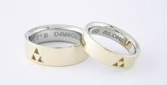 """""""It's Dangerous"""" & """"To Go Alone"""" wedding bands"""