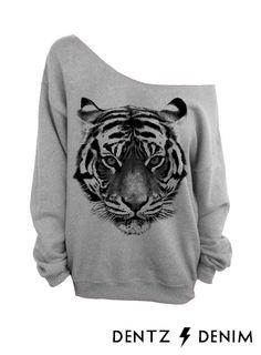 Tiger - Gray Slouchy Oversized Sweatshirt  #tiger #grey #pink #print