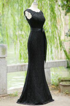 DIYouth Mermaid Black Lace Scoop Neckline Ribbon Backless Prom Dress