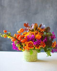 zinnias, phlox, marigolds, pumpkin branches and smoke leaves