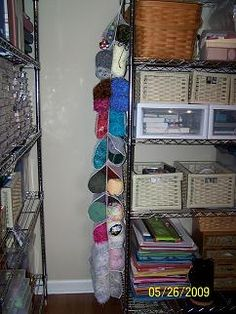 Space-saving yarn organization – Works for Me! Clutter Organization, Organization Ideas, Diy And Crafts, Arts And Crafts, Yarn Storage, Yarn Stash, Wedding Paper, Getting Organized, Space Saving