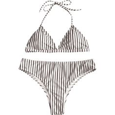 Plus Size Halter Striped High Cut Bikini Set ($17) ❤ liked on Polyvore featuring swimwear, bikinis, halter-neck bikinis, white plus size swimwear, stripe bikini, white bikini and striped bikini