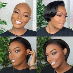 Black Wigs For Black Women Lace Frontal Black Hair Finger Waves Best Wigs For Black Women Black And Platinum Hair Quality Human Hair Short Lace Front Wigs, Short Bob Wigs, Short Pixie, Wig Hairstyles, Straight Hairstyles, Relaxed Hairstyles, Short Haircuts, Pixie Cut Wig, Pixie Cuts