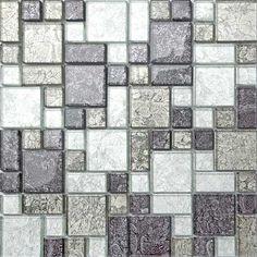 Black & Silver Hong Kong Foil Glass Mosaic Tiles Modular Random Mix Sheet M