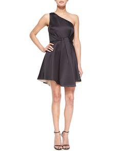 Satin One-Shoulder Dress, Black - Halston Heritage