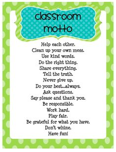 Funky First Grade Fun: Classroom Rules and Motto Freebie. Class Decoration For Christmas First Grade Classroom, Future Classroom, School Classroom, Classroom Ideas, Classroom Rules Display, Classroom Images, Kindergarten Classroom, Beginning Of School, First Day Of School
