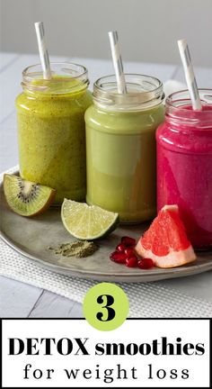3 delicious detox smoothies for weight loss (vegan) - Food - . - 3 delicious detox smoothies for weight loss (vegan) – Food – - Smoothie Bowl Vegan, Smoothies Vegan, Smoothie Vert, Detox Smoothies, Detox Juices, Breakfast Detox Smoothie, Green Detox Smoothie, Healthy Morning Smoothies, Smoothie Glass