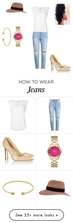 """""""White tee Blue jeans Simplicity"""" by kate-loves-elmo on Polyvore featuring H&M, Frame, Gianvito Rossi, Maison Michel, Gucci and Michael Kors"""
