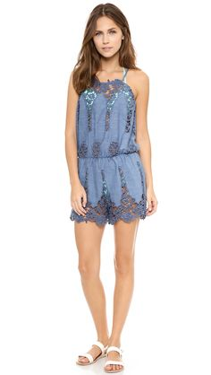 30ee902e22 Miguelina Cicely Romper - Denim Beach Cover Ups, Swimsuit Cover Ups,  Romper, Tunic
