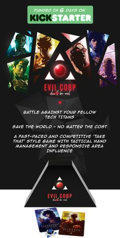 Evil Corp: A Boardgame of Evil Billionaires by Newbie Games Company — Kickstarter Battle for tech supremacy against your fellow Billionaire CEO's. Win the fight. Own the future.