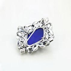 Brosa argint cu piatra albastra si marcasite - ICA0001 Sapphire, Rings, Jewelry, Fashion, Moda, Jewlery, Jewerly, Fashion Styles, Ring