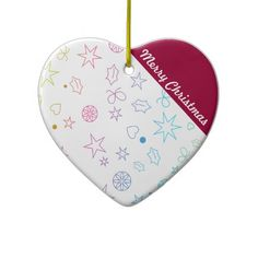 Modern Merry Christmas Heart Ornament