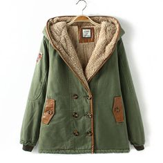 Double Breast Hooded Short Splicing Military Coat Padded Jacket Style: Neutral Material: Cotton Blend Color: Army Green / Khaki Size: M / L M: Sleeve L: Sleeve  The Hooded Coat . Look Fashion, Winter Fashion, Street Fashion, Fashion Coat, Pretty Outfits, Cute Outfits, Green Coat, Green Jacket, Padded Jacket
