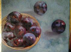 oil on plums. People Art, Oil On Canvas, Plum, Paintings, Fruit, Paint, Painting Art, Painting, Painted Canvas