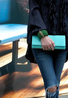 You can see our new york clutch made of stingray leather in turquoise and our samba with flower clasp made of python leather in green matt from a cuckoo moment...