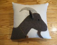 Your place to buy and sell all things handmade - Goat Eyes Applique Cushions, Wool Applique Patterns, Applique Templates, Felt Applique, Applique Quilts, Animal Cushions, Farm Quilt, Primitive Folk Art, Animal Projects