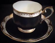 "Royal Albert "" Black Matt""  ~  Fine English Bone China ~ Tea Cup And Saucer Set"