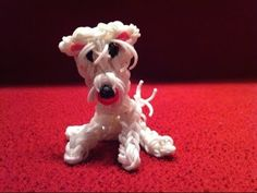Rainbow Loom WESTIE dog. Loomed by John Cox. Click photo for YouTube video tutorial by John Cox.