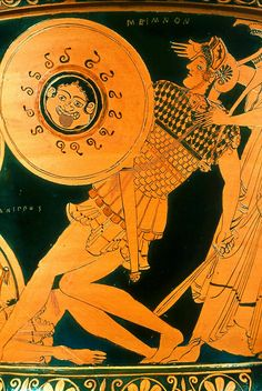 Ceramic red-figure Mixing bowl (calyx krater) depicting dueling scenes from the Trojan war. Detail. The Tyszkiewicz Painter. Greek. Late Archaic Period, c. 490–480 B.C. | The Museum of Fine Arts, Boston