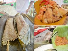 A MUST TRY: (Clockwise from top right) Orang Ulu dishes, Kayando chicken with Pumpkin, Ikan Patin Salai with Tung Leaf Rice and Keromut. Sarawak Ethnic Food. Travel.