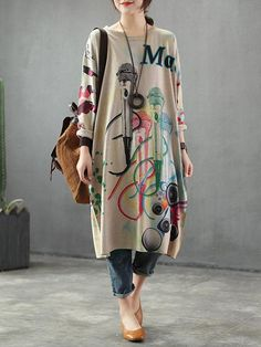 Neckline: Round neck Sleeve type: Full sleeves Material: Cotton & Polyester Wearable In: Autumn, Winter Soft Thick Stretchable Free Size Fit for S /M /L /XL Details (in CM /IN) Bust: 132 Shoulder: 67 Sleeves: 43 Length: 99 Model: Height: Weight: 110 Ib Stylish Dresses, Stylish Outfits, Casual Dresses, Fashion Dresses, Sweater Dresses, Dress Outfits, Pakistani Fashion Casual, Muslim Fashion, Hipster Outfits