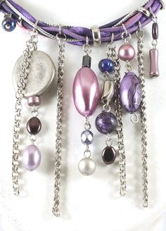 Mauve/Pink Pearls Chains Charms Cluster Necklace - now on sale for A$99 at Cybelle.com.au