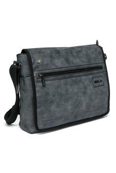 Faux-vintage polyurethane messenger bag with adjustable fabric shoulder strap, front zip pocket. - Replay