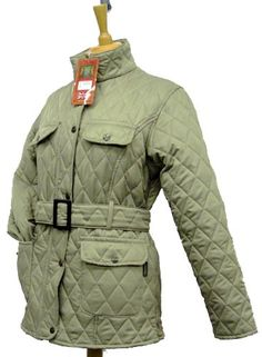 Hunter Outdoor Ladies Barey Jacket - Sandstone Fitted shape Two lower front pockets Central belt Made in