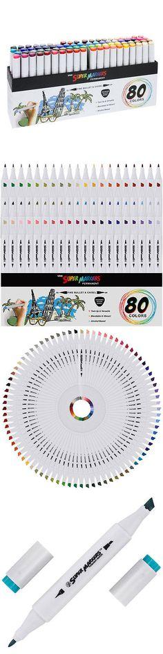 Dual Tip Chisel /& Bullet Permanent Art 80 Color Super Markers Primary Tone Set