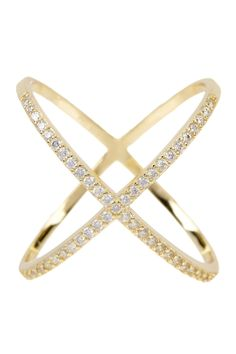 18K Gold Plated Sterling Silver X CZ Accented Ring