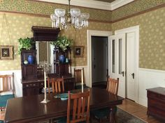 Herter Brothers Collection wallpaper enhances our clients beautiful dining room in the Duran House, Berkeley, CA. #BradburyWallpaper