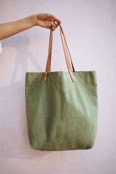 DIY Canvas Tote Bag with leather Strap