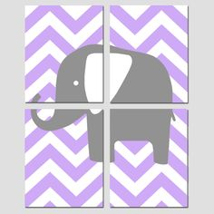 Modern Nursery Quad - Set of Four 8x10 Prints - Chevron Elephant - Choose Your Colors - Yellow, Gray, Lilac, Purple, and More. $65.00, via Etsy.