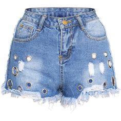 Designer Clothes, Shoes & Bags for Women Denim Shorts Style, Ripped Jean Shorts, Blue Jean Shorts, Blue Denim, Eyelet Shorts, Destroyed Jeans, Distressed Denim Shorts, Korean Model, Short Shorts