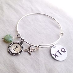 Hand stamped Greek Letter Charm Bracelet Russian Silver plated Alex and customize custom personalized up to 4 charms birthstone initials