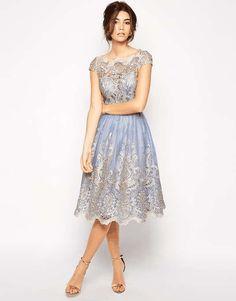 Chi Chi London | Premium Metallic Lace Prom Dress with Bardot Neck #chichilondon #metallic #prom #dress