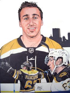 This is an illustration I did in 2012 of Boston Bruins Brad Marchand. Original art done in size, was created using Chartpak AD felt tip markers. Boston Sports, Boston Red Sox, Brad Marchand, Felt Tip Markers, Boston Bruins Hockey, Sports Figures, Sports Art, Hockey Players, New England Patriots